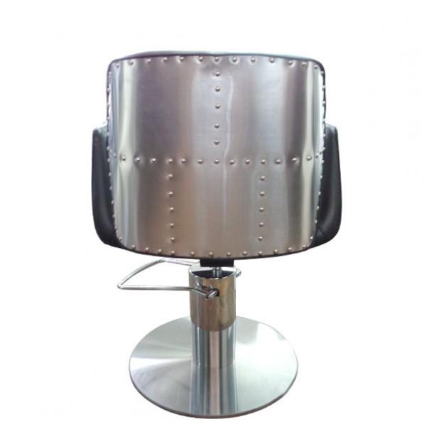Черен фризьорски стол HA295 с метален акцент