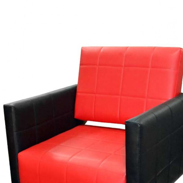 Професионален фризьорски стол M401, черен-червен