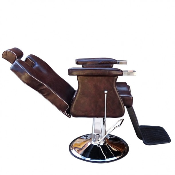 Кафяв бръснарски стол с повдигащ механизъм – Модел 3165