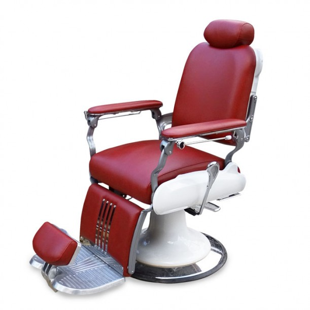 Стилен бръснарски стол във виненочервен цвят модел IM235
