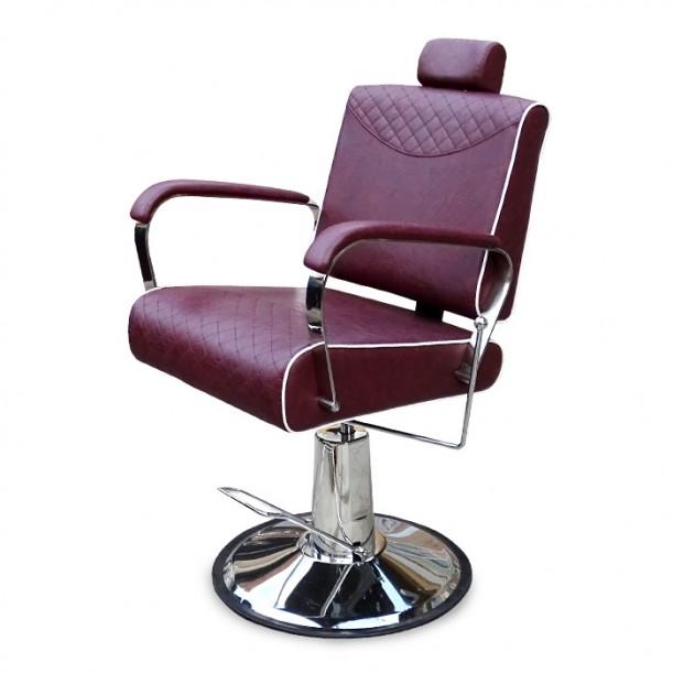 Бръснарски стол в бордо цвят модел N220