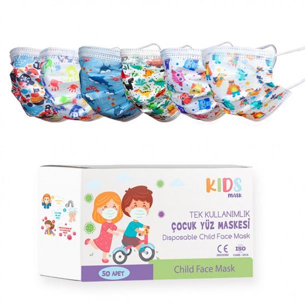 Медицински маски за деца с различни картинки или в черно, 50 броя