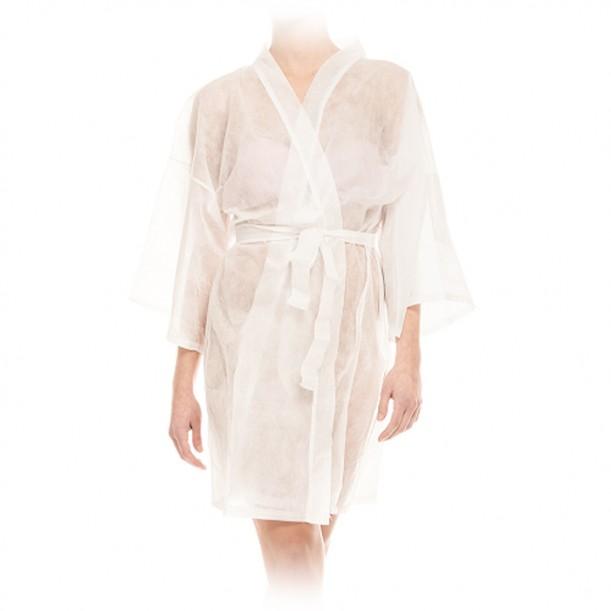 Кимоно от нетъкан текстил в бял цвят