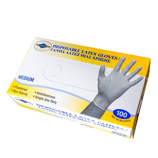 Бели еднократни ръкавици от латекс, 100 броя