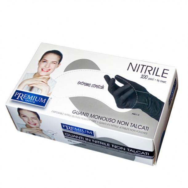 Premium еднократни черни ръкавици от нитрил, 100 броя