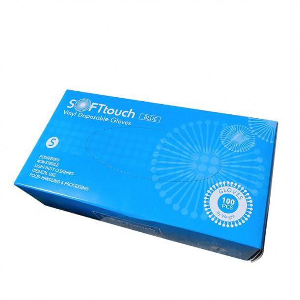 Soft touch ръкавици за еднократна употреба от винил с пудра 100 броя S размер