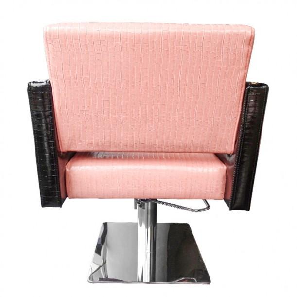 Фризьорски стол с луксозен дизайн М90, Розово-Черен