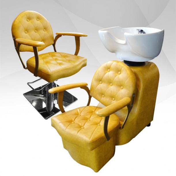 Професионален фризьорски стол в жълто модел А306