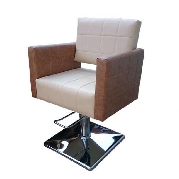 Професионален фризьорски стол M401, бежов-кафяв