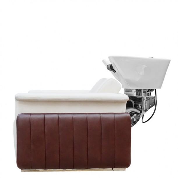 Електрическа измивна колона в бяло и кафяво IM239