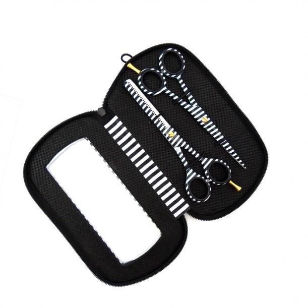 Комплект ножици за фризьорски салон Black and White