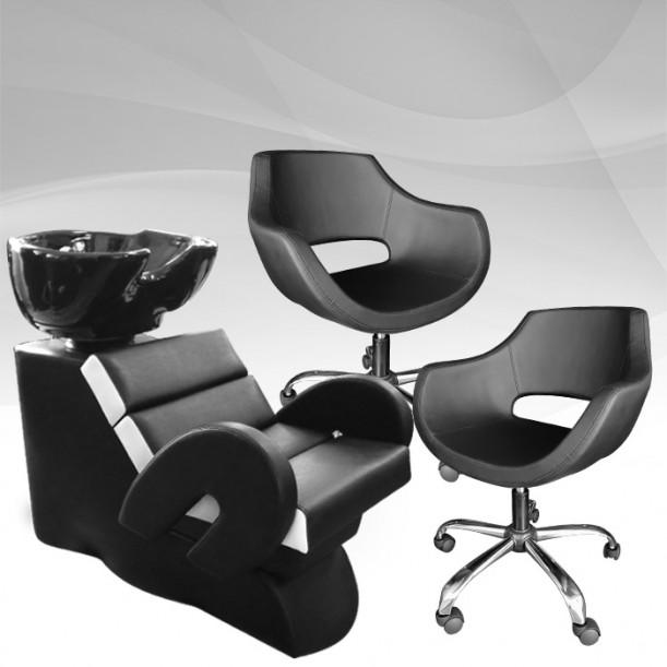 Комплет фризьорско оборудване Cardinal - измивна колона с 2 фризьорски стола
