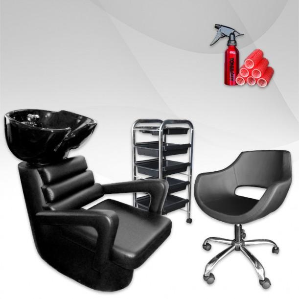 Фризьорски комплект ECONOMY - измивна колона, фризьорска количка и стол
