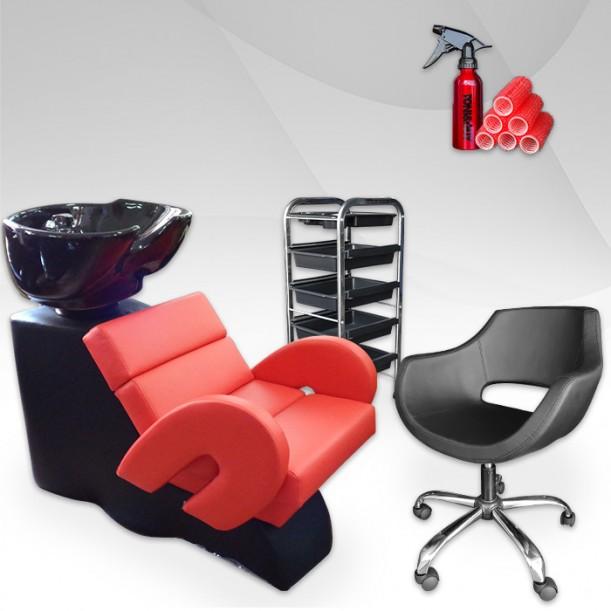 Фризьорски комплект LUXE - измивна колона, фризьорски стол и количка