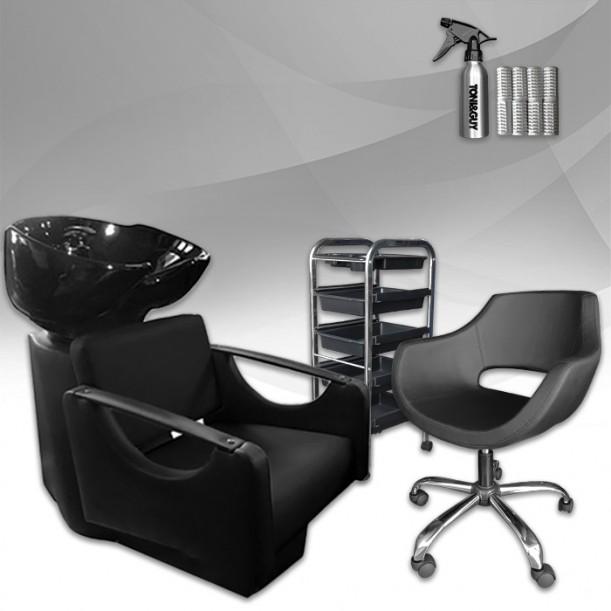Оборудване за фризьорски салон - измивна колона, фризьорски стол и количка STANDART