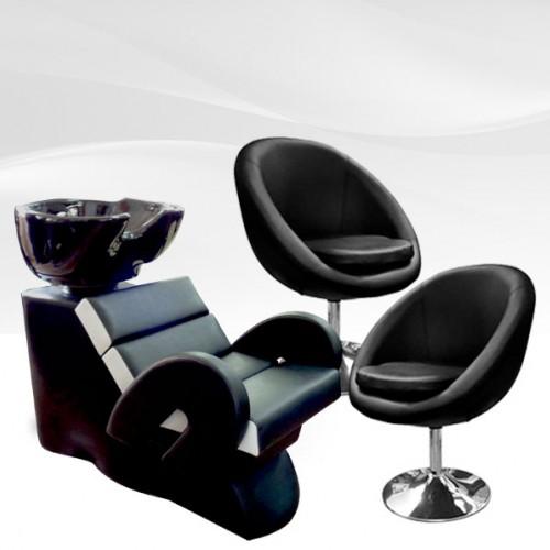 Комплет фризьорско оборудване - измивна колона с 2 фризьорски стола